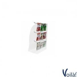 Espositore da banco per blister di batterie e accessori a 9 postazioni