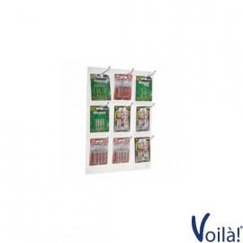 Espositore da parete per blister di batterie e accessori a 9 postazioni